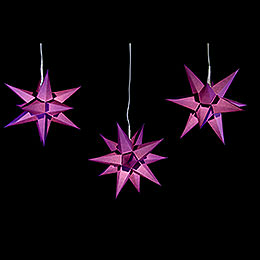 Erzgebirge-Palace Moravian Star Set of Three Violet incl. Lighting - 17 cm / 6.7 inch