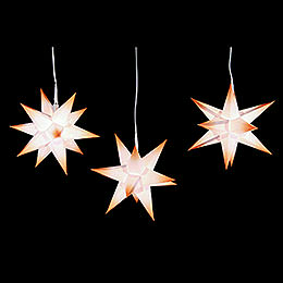 Erzgebirge-Palace Moravian Star Set of Three White Core with Orange Tips incl. Lighting - 17 cm / 6.7 inch