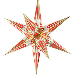 Hartenstein Christmas Star for Inside Use - White-Red with Gold - 68 cm / 27 inch