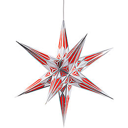 Hartenstein Christmas Star for Inside Use - White-Red with Silver - 68 cm / 27 inch