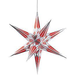 Hartensteiner Weihnachtsstern für Innen - weiß-rot mit silber - 68 cm