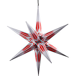 Hasslau Christmas Star - Red/White with Silver Pattern and Lighting - 75 cm / 30 inch -  Inside/Outside Use
