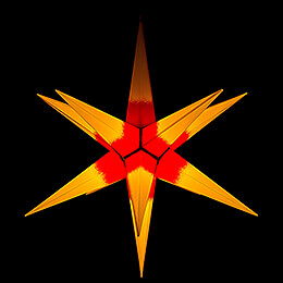 Hasslau Christmas Star - Yellow with Red Core and Lighting - 75 cm / 30 inch -  Inside/Outside Use