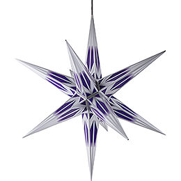 Hasslau Christmas Star - Purple/White with Silver Pattern and Lighting - 75 cm / 30 inch -  Inside/Outside Use