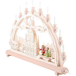 3D-Doppelschwibbogen Dresdner Frauenkirche mit Kutsche und Figuren - 68x35 cm