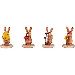 Hasen 4er-Set - Ei, Herz, Opa und Blume - 5 cm