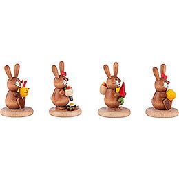 Hasen 4er-Set - Küken, Gießkanne, Möhre und Ei - 5 cm