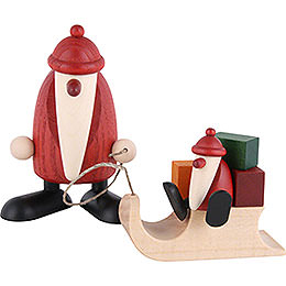 Santa Claus with Sleigh and Child - 9 cm / 3.5 inch
