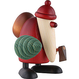Santa Claus Carrying An Axe and a Christmas Tree - 19 cm / 7.5 inch