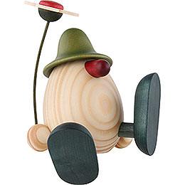 Egghead Alfons with Flower Sitting/Dancing, Green - 11 cm / 4.3 inch