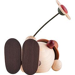 Egghead Oskar with Flower Lying Down, Brown - 11 cm / 4.3 inch