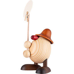 Egghead Willi, Holding a Sign, Brown - 11 cm / 4.3 inch
