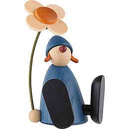 Well-Wisher Lotta with Flower Sitting, Blue - 9 cm / 3.5 inch