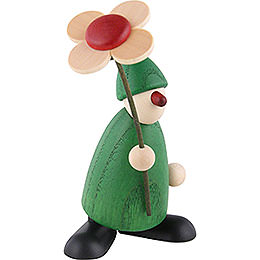 Well-Wisher Paule with Flower Congratulating, Green - 9 cm / 3.5 inch
