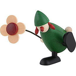 Well-Wisher Sophie with Flower Sitting/Dancing on Edge, Green - 9 cm / 3.5 inch