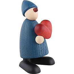 Well-Wisher Theo with Heart, Blue - 9 cm / 3.5 inch