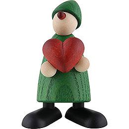 Gratulant Theo mit Herz, grün - 9 cm