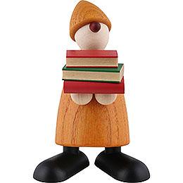 Gratulant Billy mit Büchern, gelb - 9 cm