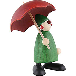 Well-Wisher Louise with Umbrella, Green - 9 cm / 3.5 inch