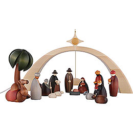 Nativity Set of 17 Pieces Including Light Arch - and Star