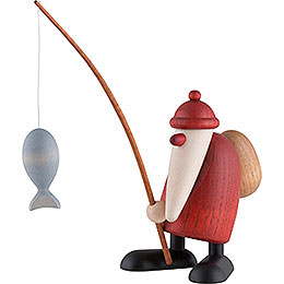 Santa Claus with Fishing Rod - 13 cm / 5 inch