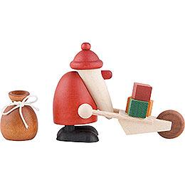 Miniaturen-Set Weihnachtsmann mit Schubkarre - 4 cm