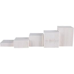 5-teiliges Deko-Set Klötze, weiß - 12 cm