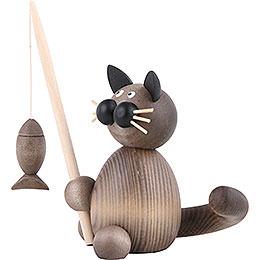 Katze Karli mit Fisch - 8 cm