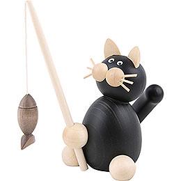 Katze Hilde mit Fisch - 8 cm