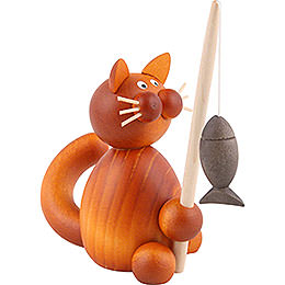 Katze Charlie mit Fisch - 8 cm