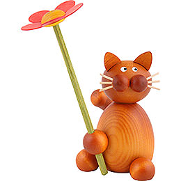 Cat Charlie with Flower - 8 cm / 3.1 inch