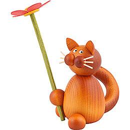 Katze Charlie mit Blume - 8 cm