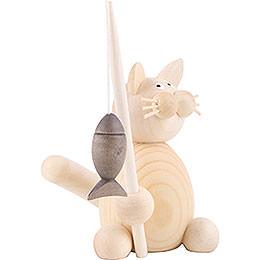Katze Moritz mit Fisch - 8 cm