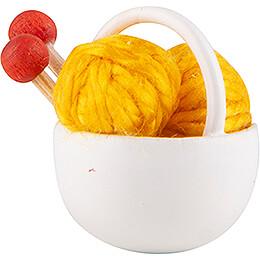 Körbchen mit Wolle, gelb - 1,5 cm