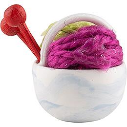 Körbchen mit Wolle, pink - 1,5 cm