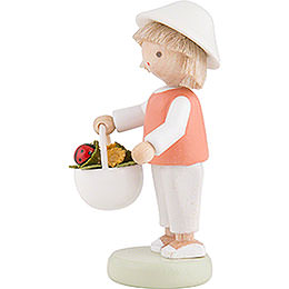 Flax Haired Children Boy with Lady Bug - 5 cm / 2 inch