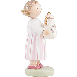 Flax Haired Children Girl with Coffee Pot - 5 cm / 2 inch