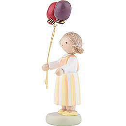 Flax Haired Children Girl with Balloons - 6,5 cm / 2,5 inch