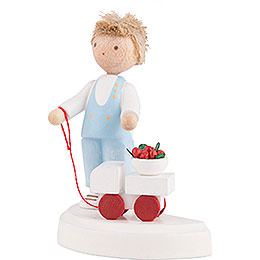 Flax Haired Children Small Boy with Toy Car and Cherries - 5 cm / 2 inch