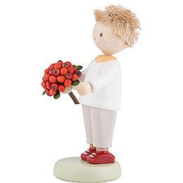 Flax Haired Children Boy with Rowan Berry - 5 cm / 2 inch