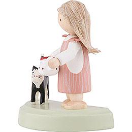 Flachshaarkinder Kleines Mädchen mit schwarzer Katze - 5 cm