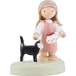 Flax Haired Children Little Girl with Black Cat - 5 cm / 2 inch