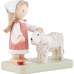 Flax Haired Children Little Girl with Big Dog - 5 cm / 2 inch