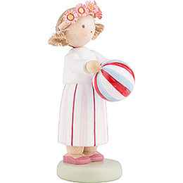Flax Haired Children Girl with Ball - 5 cm / 2 inch