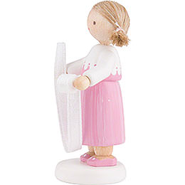 Flax Haired Children Girl with Decorative Ribbon - 5 cm / 2 inch