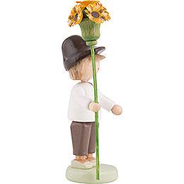 Flax Haired Children Boy with Flower Sceptre - 5 cm / 2 inch