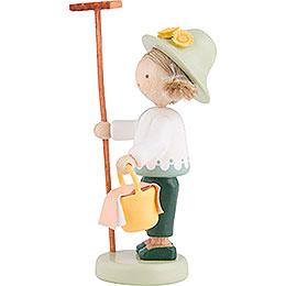 Flax Haired Children Gardener with Rake and Lunch Basket - 5 cm / 2 inch