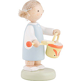 Flax Haired Children Girl with Sand Box Toys - 5 cm / 2 inch