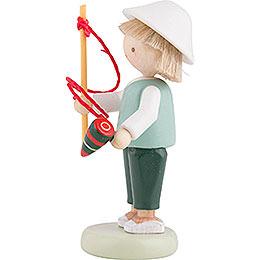 Flachshaarkinder Junge mit Kreisel und Peitsche - 5 cm