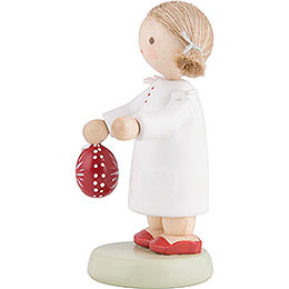 Flax Haired Children Little Girl with Sorbian Easter Egg - 5 cm / 2 inch